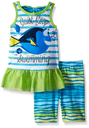 Disney Girls' 2 Piece Finding Dory Tank and Bike Short Set