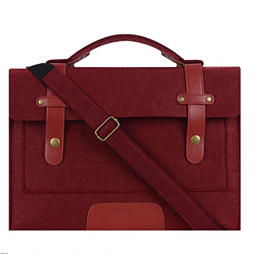10. Mosiso Laptop Shoulder Briefcase Bag, Felt Fabric Sleeve Handbag Carry Case Cover for 13-13.3 Inch