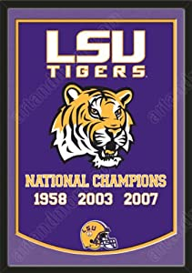 Dynasty Banner Of Louisiana State Tigers With Team Color Double Matting-Framed... by Art and More, Davenport, IA
