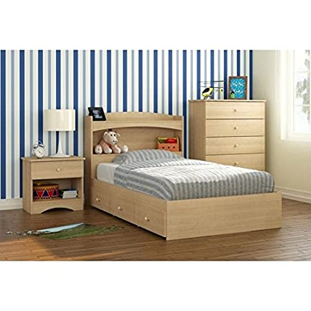 Nexera Alegria 4 Piece Twin Bedroom Set in Natural Maple