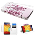 myLife Vibrant White + Light Pink Spring Blossoms {Modern Design} Faux Leather (Card, Cash and ID Holder + Magnetic Closing) Slim Wallet for Galaxy Note 3 Smartphone by Samsung (External Textured Synthetic Leather with Magnetic Clip + Internal Secure Snap In Closure Hard Rubberized Bumper Holder)