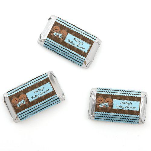 Twin Modern Baby Boys African American - Personalized Baby Shower Mini Candy Bar Wrapper Favors - 20 Ct front-722550