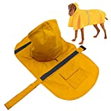 Dog Raincoat, PETBABA Reflective Rain Jacket with Hood for Dogs Yellow L