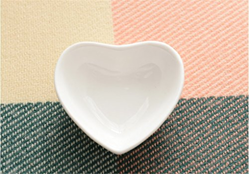 Elufly White Porcelain Mini Heart Dish 3'' Set of 2-8 (4) (Mini Sauce Dish compare prices)