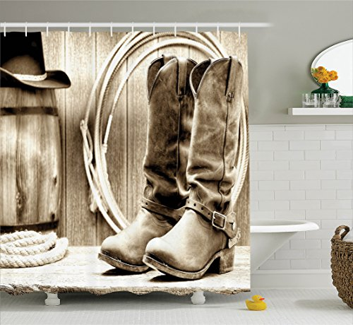 western-decor-shower-curtain-set-by-ambesonne-traditional-rodeo-supplies-with-roper-boots-in-vintage