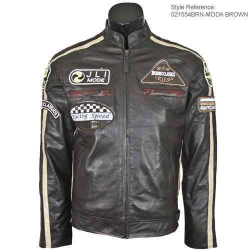 Mens Moda Dark Brown Leather Biker Jacket M2B Size XXL - Double Extra Large
