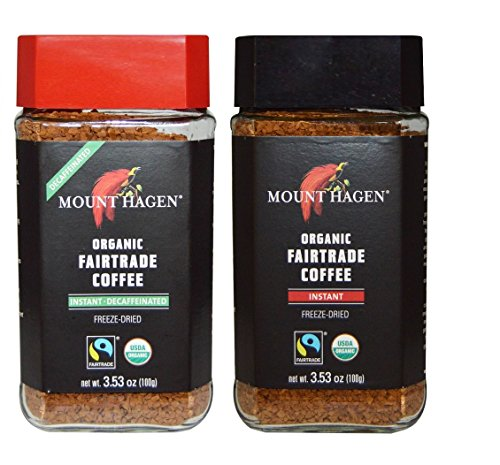 Mount Hagen Organic Freeze Dried Instant Coffee- 3.53 Oz Each ,Variety Pack ,1 Jar Regular + 1 Jar Decaff, (Pack of 2) (Instant Coffee Fair Trade compare prices)