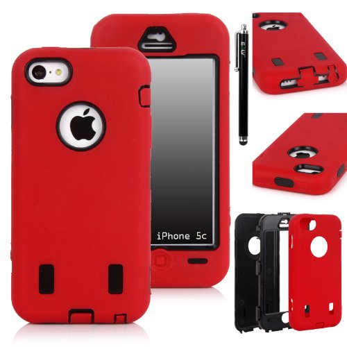 Iphone 5C Case, E Lv Iphone 5C Case - Heavy Duty Rugged Dual Layer Hybrid Armor Defender Case Cover For Iphone 5C [Shock-Absorption / Impact Resistant] With 1 Screen Protector, 1 Black Stylus And 1 Microfiber Sticker Digital Cleaner (Apple Iphone 5C) - Re