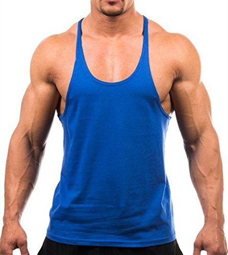 bc2e28c2eaa22 Q.Y.Fashion Men s Cotton Blank Stringer Y Back Workout Gym Tank Tops  Sapphire M