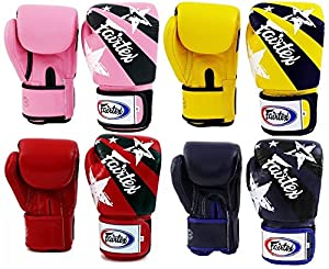 Fairtex Muay Thai Boxing Gloves BGV1 Limited Editon Nation Print Color: Pink Yellow Red Blue Size: 10 12 14 16 oz Training & Sparring All Purpose Gloves for Kick Boxing MMA K1 Tight Fit Design (Yellow, 12 oz)