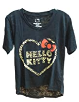 Hello Kitty Leopard Heart T-shirt (Large, Black)
