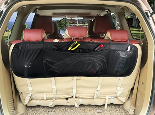 Zone Tech Premium Quality Collapsible 5 Pocket Auto Interior Removable Multipurpose Black Cargo Kid