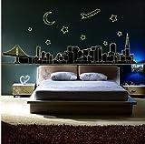 まるでパリにいる気分 ウォールステッカー 夜に 光る 蓄光シール パリの 夜景 (夜の街(W200cmxH70cm))