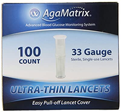 AgaMatrix Lancets, 33 Gauge, 100 Count Box