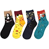 StyleME 4 Pairs Famous Painting Casual Cotton Fashion Sport Crew Socks