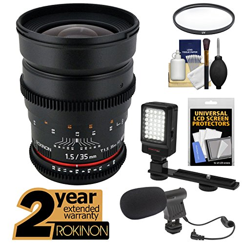 Rokinon 35Mm T/1.5 Cine Wide Angle Lens With 2 Year Ext. Warranty + Filter + Led Video Light + Microphone Kit For Olympus Micro 4/3 Om-D/Pen & Panasonic Lumix Cameras