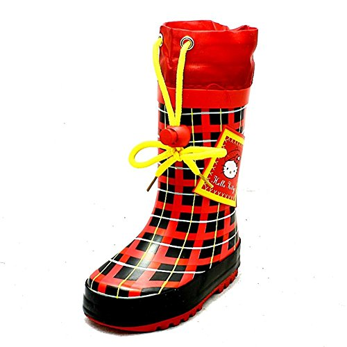 Little Girls rosso nero controllato Hello Kitty con coulisse wellies pioggia stivali NEW