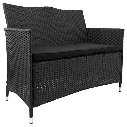 2-Sitzer-Gartenbank-Sitzbank-Rattanbank-Rattansofa-mit-Poly-Rattanbespannung-inkl-Sitzkissen-117x86x55cm-Schwarz