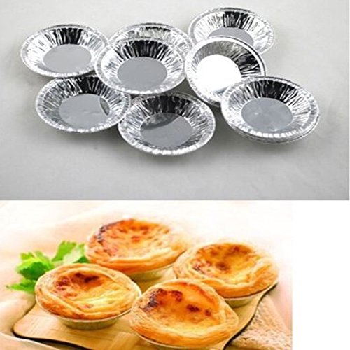 "1Sets of 50 Pcs Mini Kitchen Disposable Baking Egg Tarts Cake Cups Cake Lined Mould Cookie Baking Tin Foil Cup Round Small Silver 2.8""/ 7.11cm (1 PACK 50Pcs baking Foil Cups )"