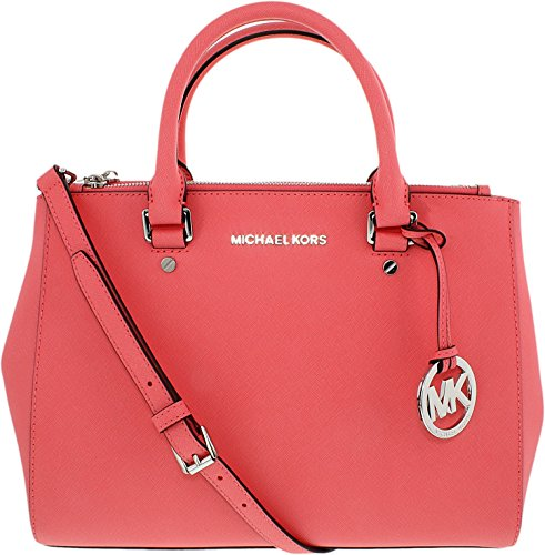Michael Kors Sutton Leather Medium Satchel Handbag - Coral - Michael Kors