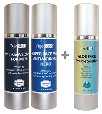 Valentines Day Gift For Him Agebloc For Men Face Kit Includes Super Face Man Anti-wrinkle Hero Skin Strengthening Serum50ml48 Wrinkle Watcher For Men Anti-wrinkle Cream50ml42 And Aloe Face Trouble Soother 50ml35 Free Expedited Shipping