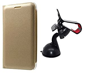 Novo Style Oppo F1 Premium PU Leather Quality Golden Flip Cover+ Car Mount Cradle Holder Windshield Mobile / Gps Suction Holder Stand - Clip Type