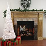 7.5' Pre-Lit Pop Up Iridescent Tinsel Artificial Christmas Tree - Clear Lights