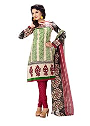 Rajnandini Women's Cream cotton Printed Unstitched salwar suit Dress Material (Pink _Free Size)