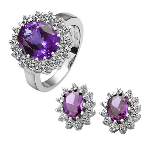 18k Gold Plated Swarovski Elements Crystal CZ Rhinestone jewelry Sets Purple Ring & Earrings