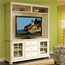 Hot Sale Riverside Furniture Placid Cove TV Console with Hutch Set in Honeysuckle White