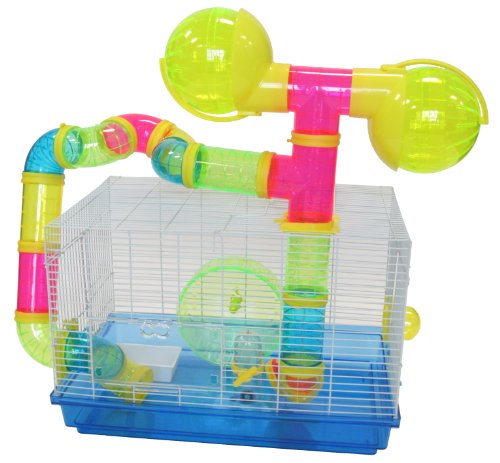 YML Dwarf Hamster Mice Cage with Color Tubes and Accessories, Pink