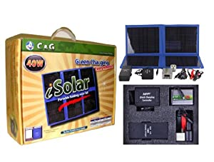 40W Flodable Solar Charger kit, Solar Camping, Hiking, Emergency, Survival, Disaster, Rescue, RV, Laptop, Hunting, Fishing, Marine, Military,Car, Travel kit with 96W Battery