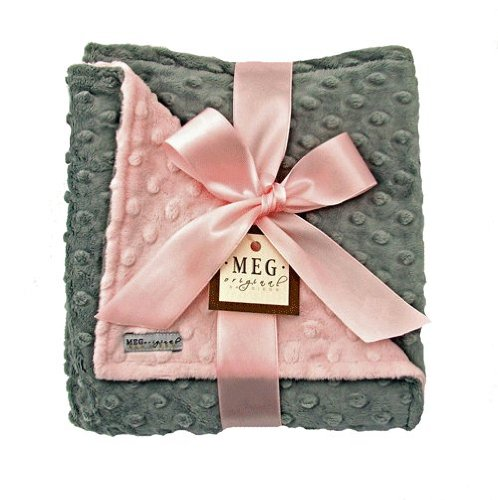 Meg Original Minky Dot Baby Girl Blanket Pink/Gray