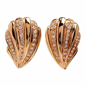 Estate Diamond 18k Gold Shell Earrings