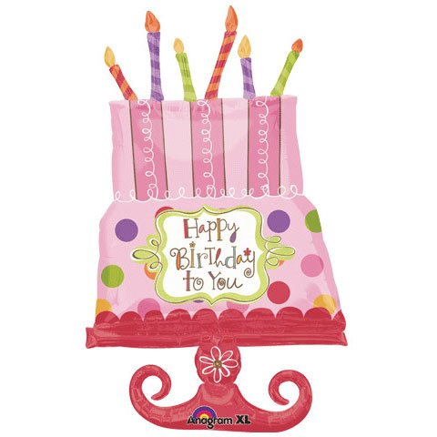 """Happy Birthday to You"" Sweet Cake Pink Candles Dots Green 34"" Balloon Mylar"