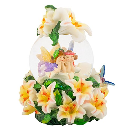 Fairy Lilies 3 x 3 Miniature Resin Stone 45MM Water Globe Table Top Figurine