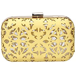 BMC Matte Yellow Cut Out Faux Leather Covered See Through Clear Plastic Hard Case Fashion Handbag Clutch