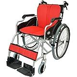 ケアテックジャパン 自走式 アルミ製 折りたたみ 車椅子 ハピネス レッド CA-10SU