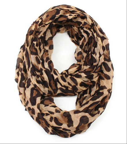 Plum Feathers Leopard Print Crinkle Infinity Scarf Camel