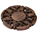 """Kitchen Item Sale - Trivet for Hot Dishes Dining Table Handmade in Mango Wood Decorative Solid Round Shaped Trivet 6.6"""" - Kitchen Accessories / Essentials / Gadgets / Diwali Gifts"""