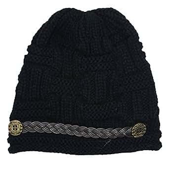 Women Knit Snow Hat Winter Snowboarding Beanie Crochet Cap (Black)