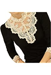 VOBAGA Women's Lace Spliced Shirt Long Sleeve Stand Collar Tops Blouse