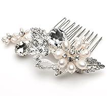 Big Sale USABride Bridal Wedding Side Comb with Pearl & Rhinestone 370