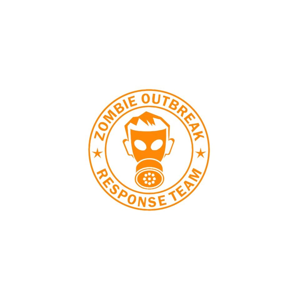 Zombie Outbreak Response Team IKON GAS MASK Design   5 ORANGE   Vinyl Decal Window Sticker by Ikon Sign