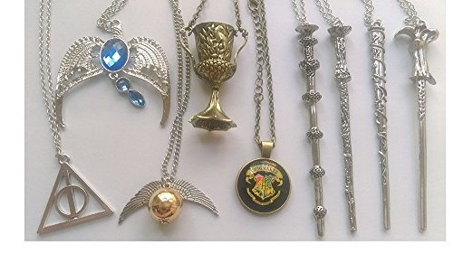 9 pcs Harry Potter Charms Necklaces Collectible Wands Golden Snitch Deathly Hallows (Harry Potter Snitch)