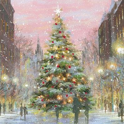 Charity Christmas cards - Town Tree - 8 charity cards sold in support of The National Autistic Society