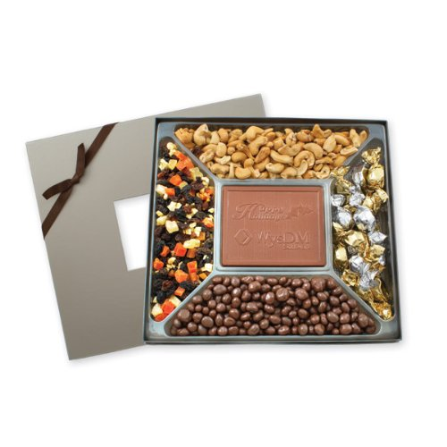 Custom Printed Executive Square Sampler Box with Cashews, Chocolate Covered Raisins, Dried Fruit, and Truffles - Min Quantity of 25