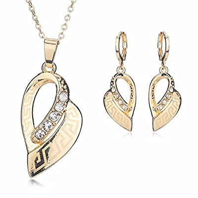 Moochi 18K Gold Plated Special Shape Golden Chain Pedant Necklace Earrings Jewelry Set Party Dance