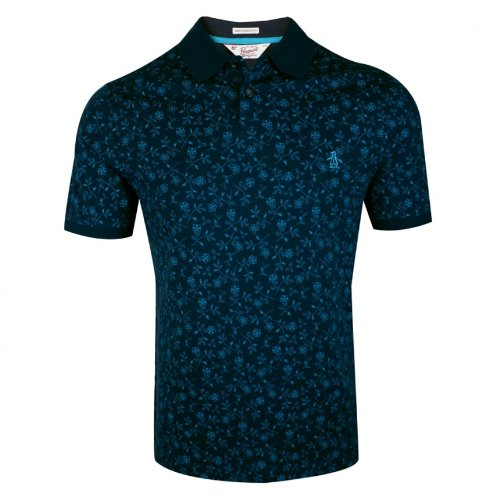 Original Penguin Shortsleeve Flower Print Polo Printed Men's T-Shirt Total Eclipse Large