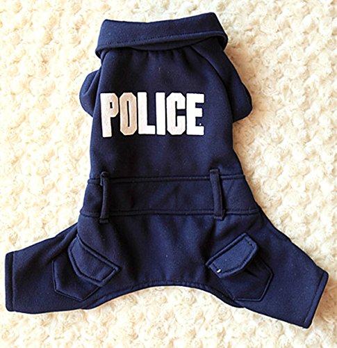 Pet Cat Dog Clothes Police Uniform Coat Jacket Jumpsuit Small Dog Costumes Dark Blue M